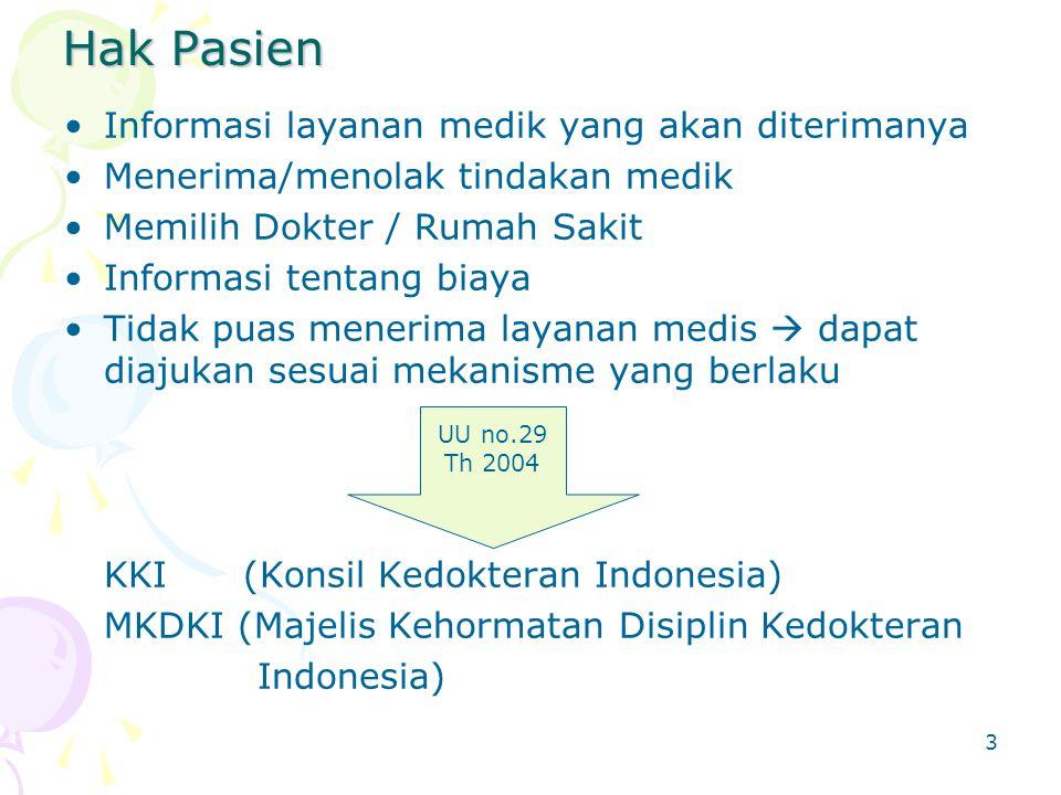 Hak Pasien Informasi layanan medik yang akan diterimanya