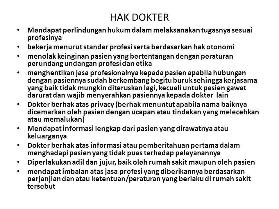 HAK DOKTER Mendapat perlindungan hukum dalam melaksanakan tugasnya sesuai profesinya. bekerja menurut standar profesi serta berdasarkan hak otonomi.