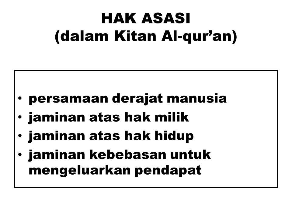 HAK ASASI (dalam Kitan Al-qur'an)