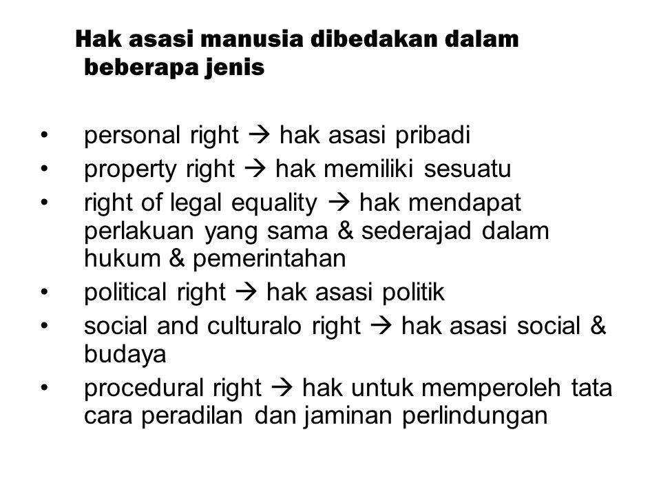 Hak asasi manusia dibedakan dalam beberapa jenis