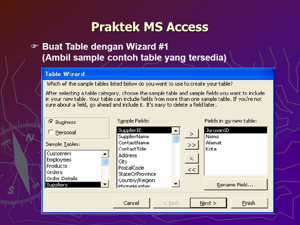Praktek MS Access Buat Table dengan Wizard #1