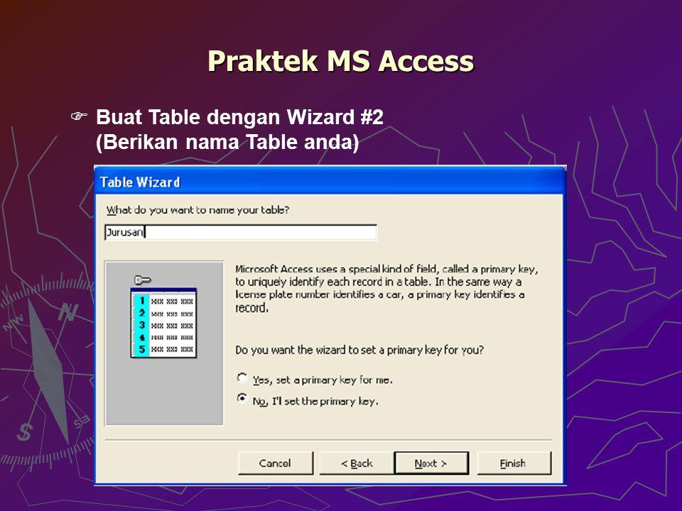 Praktek MS Access Buat Table dengan Wizard #2