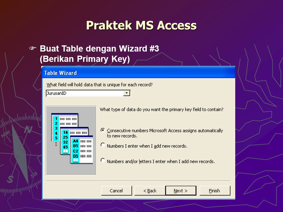 Praktek MS Access Buat Table dengan Wizard #3 (Berikan Primary Key)