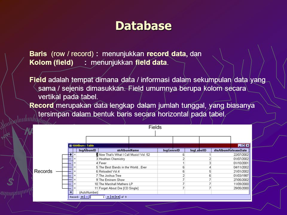 Database Baris (row / record) : menunjukkan record data, dan