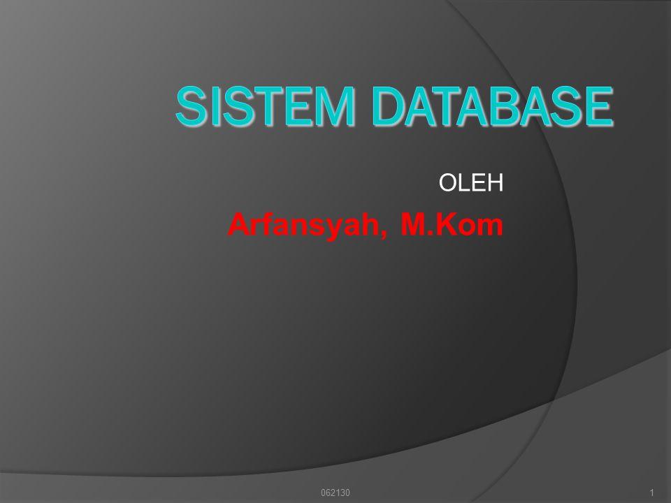 SISTEM DATABASE OLEH Arfansyah, M.Kom 062130