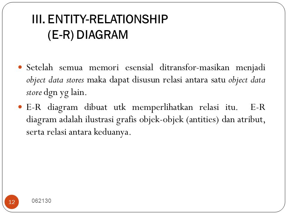 III. ENTITY-RELATIONSHIP (E-R) DIAGRAM