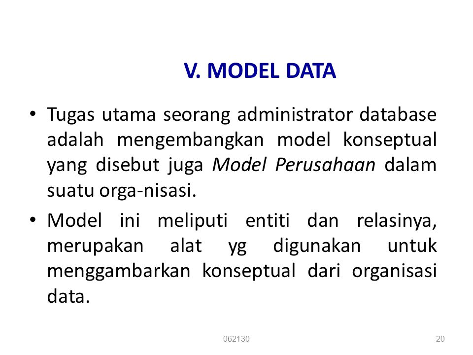 V. MODEL DATA