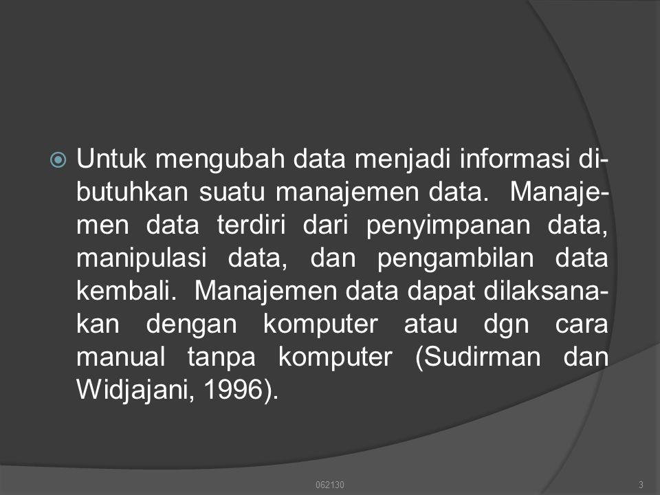 Untuk mengubah data menjadi informasi di-butuhkan suatu manajemen data