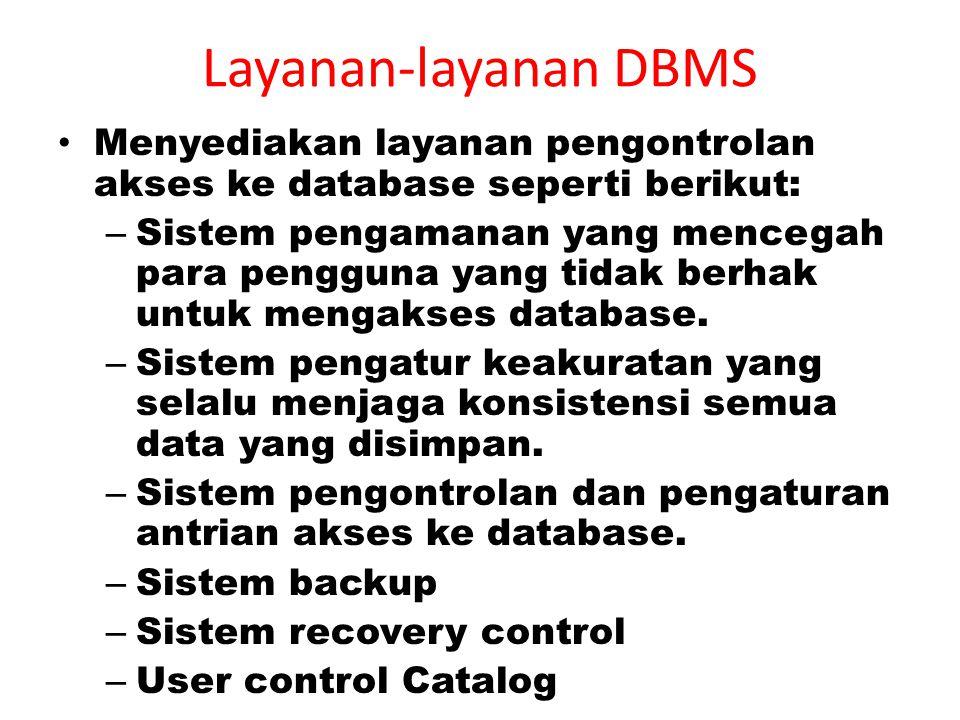 Layanan-layanan DBMS Menyediakan layanan pengontrolan akses ke database seperti berikut: