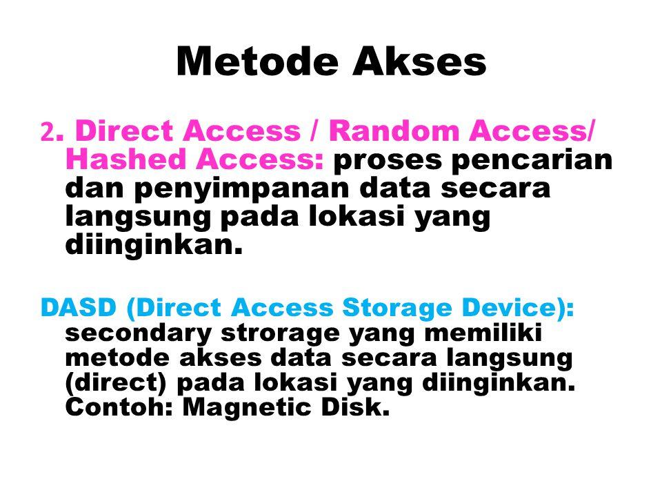 Metode Akses 2. Direct Access / Random Access/ Hashed Access: proses pencarian dan penyimpanan data secara langsung pada lokasi yang diinginkan.