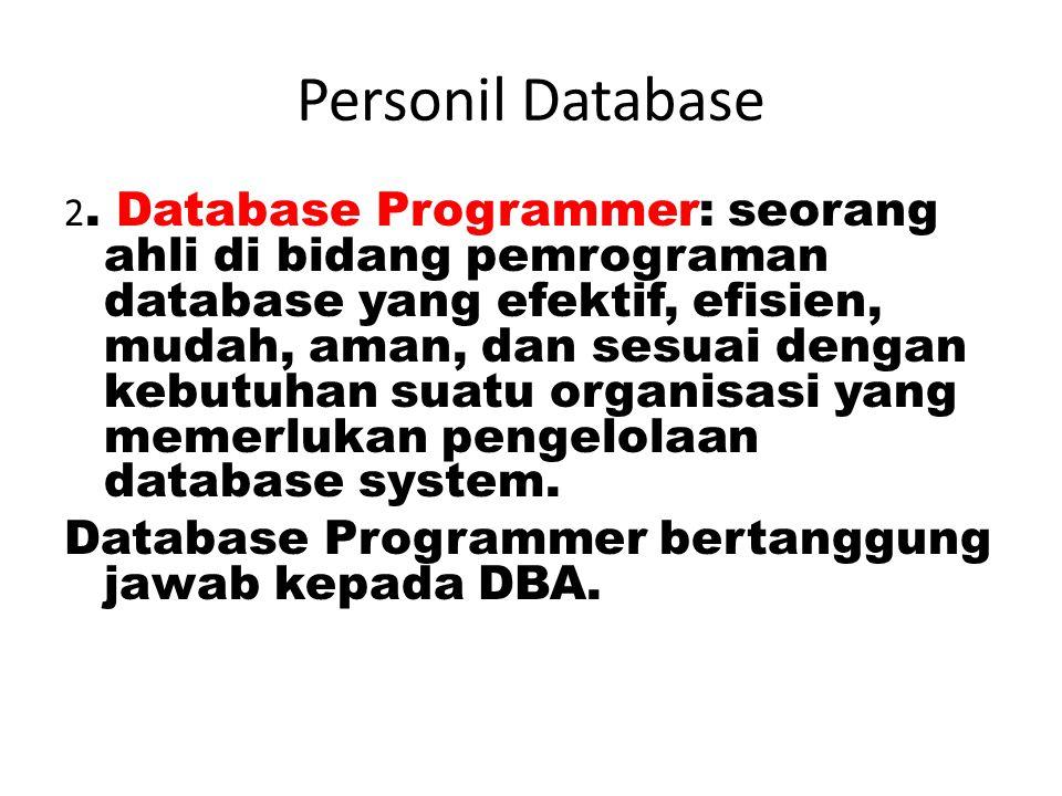 Personil Database Database Programmer bertanggung jawab kepada DBA.