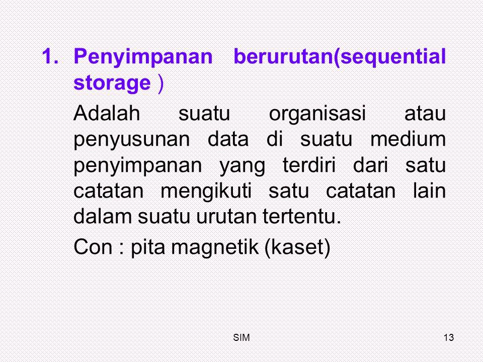 Penyimpanan berurutan(sequential storage )