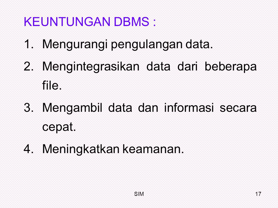 Mengurangi pengulangan data. Mengintegrasikan data dari beberapa file.