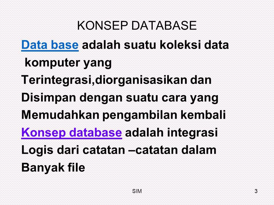 Data base adalah suatu koleksi data komputer yang
