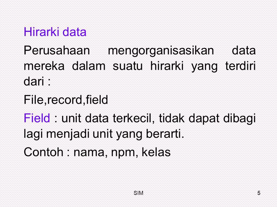 Hirarki data Perusahaan mengorganisasikan data mereka dalam suatu hirarki yang terdiri dari : File,record,field.