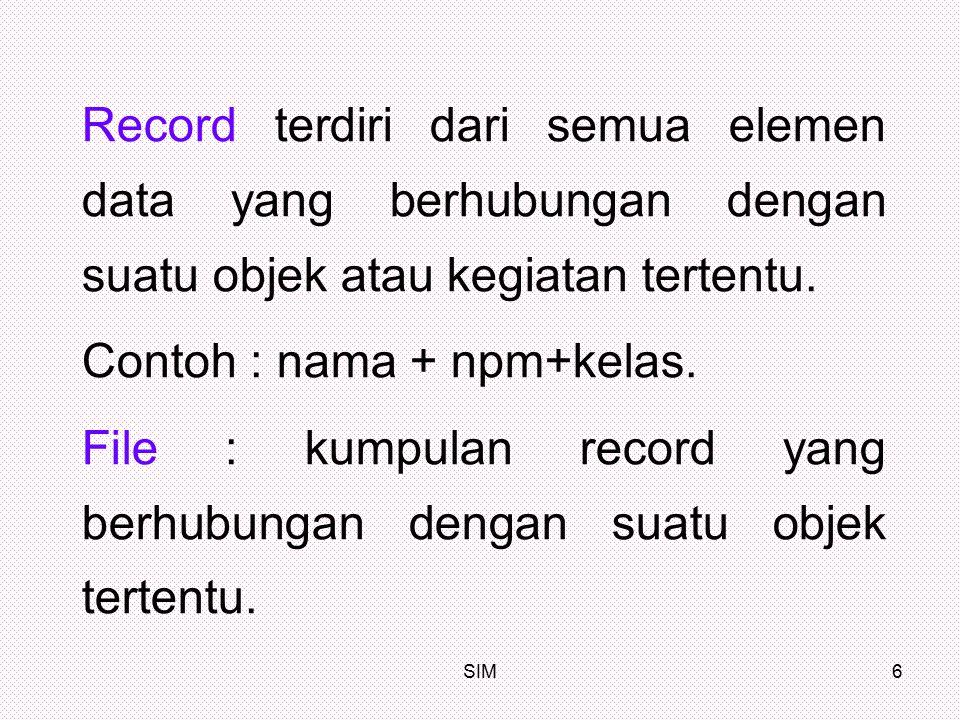Contoh : nama + npm+kelas.