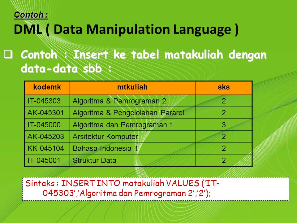 DML ( Data Manipulation Language )