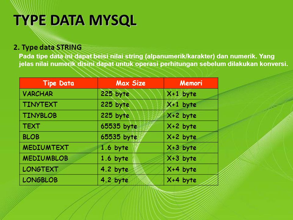 TYPE DATA MYSQL 2. Type data STRING Powerpoint Templates