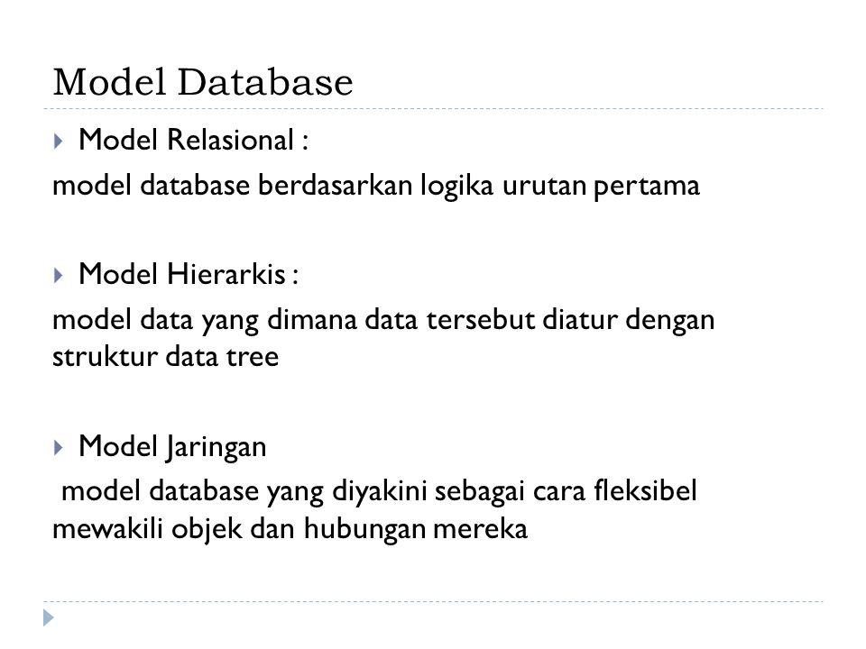 Model Database Model Relasional :