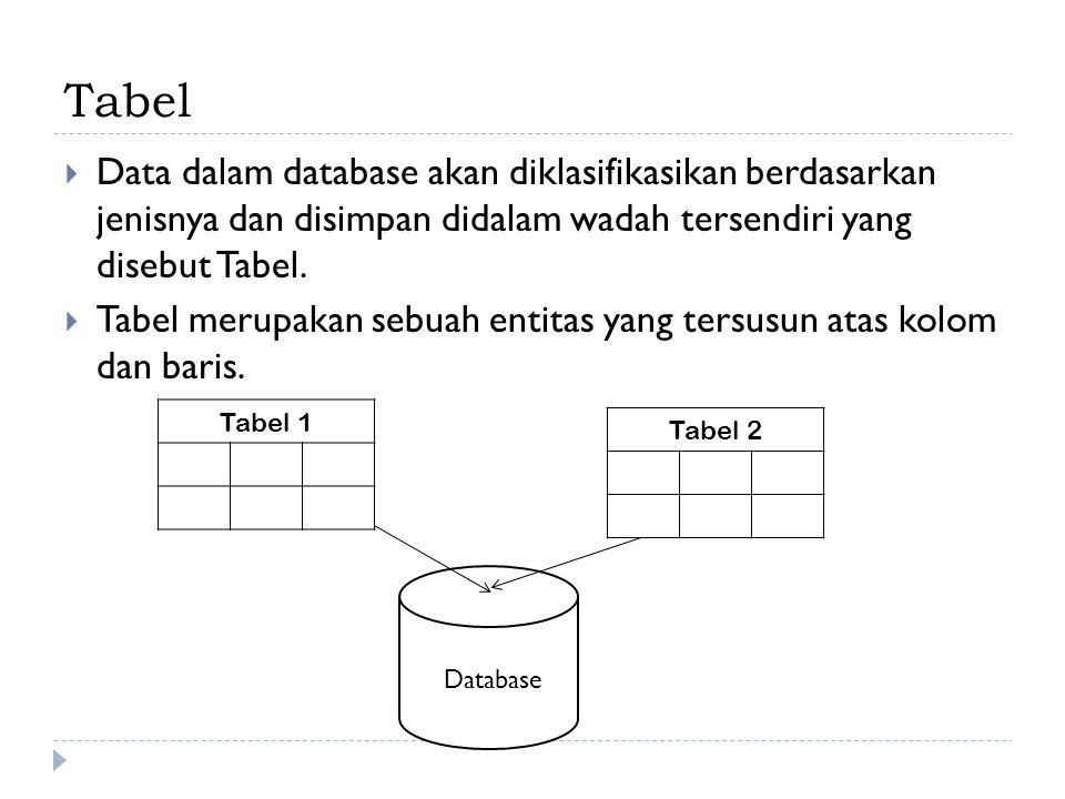 Tabel Data dalam database akan diklasifikasikan berdasarkan jenisnya dan disimpan didalam wadah tersendiri yang disebut Tabel.