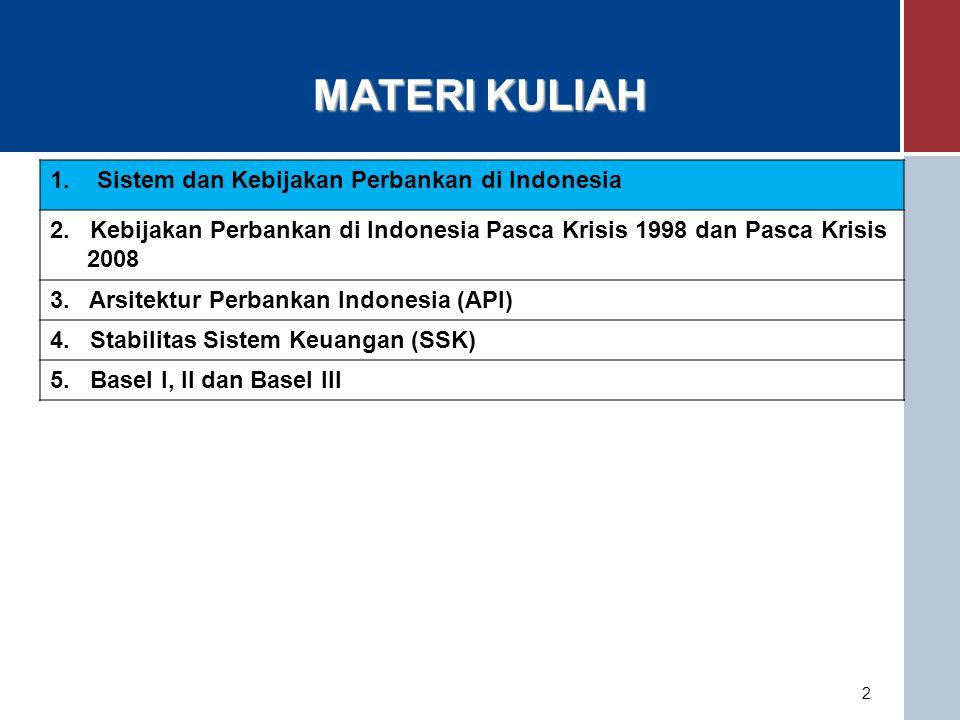 MATERI KULIAH 1. Sistem dan Kebijakan Perbankan di Indonesia