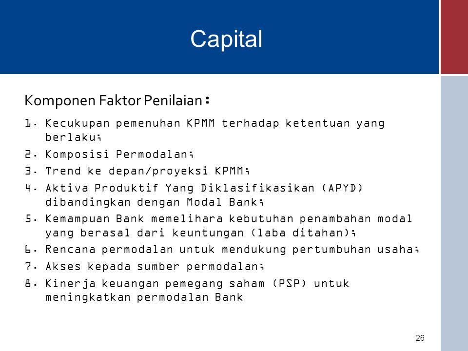 Capital Komponen Faktor Penilaian: