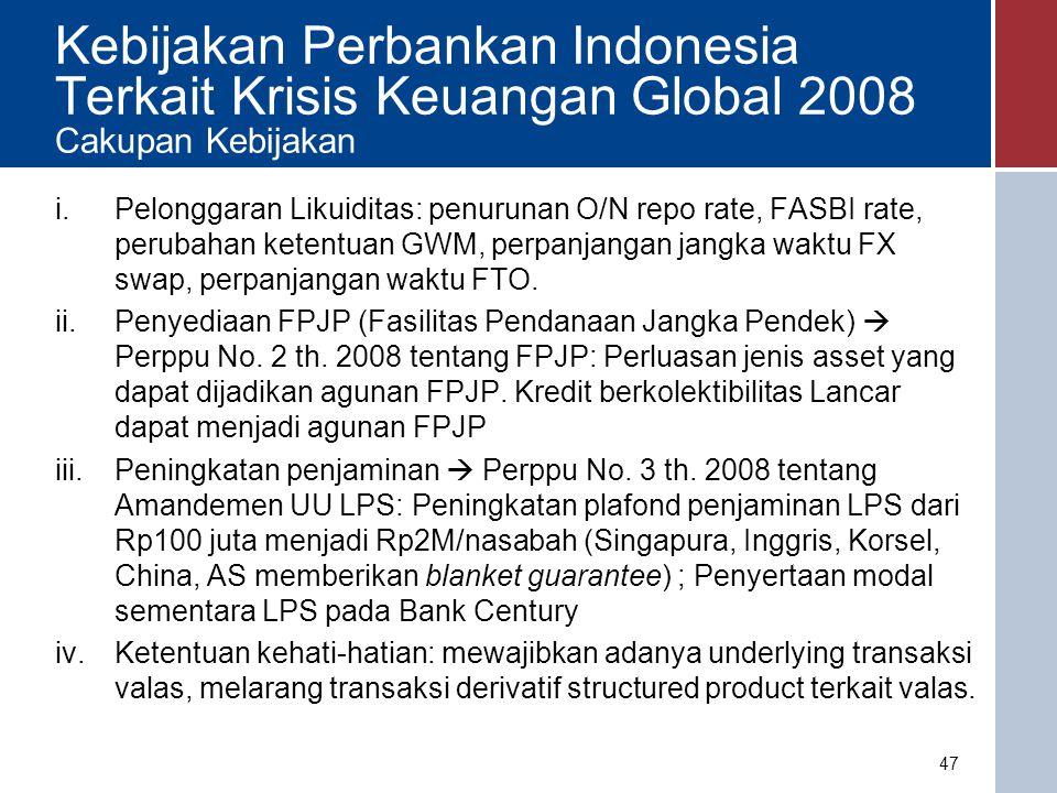 Kebijakan Perbankan Indonesia Terkait Krisis Keuangan Global 2008 Cakupan Kebijakan