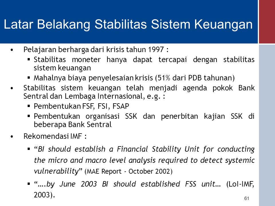 Latar Belakang Stabilitas Sistem Keuangan