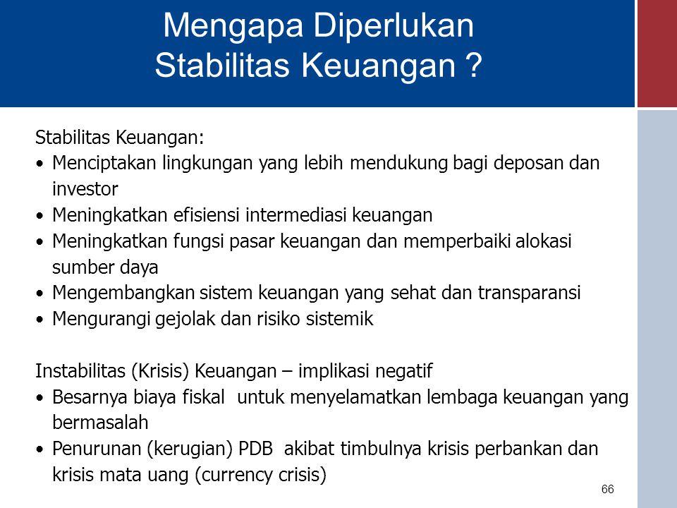 Mengapa Diperlukan Stabilitas Keuangan Stabilitas Keuangan: