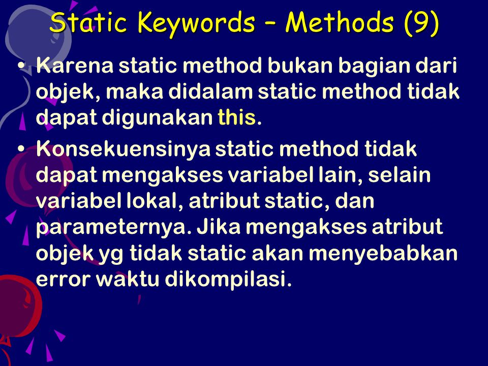 Static Keywords – Methods (9)