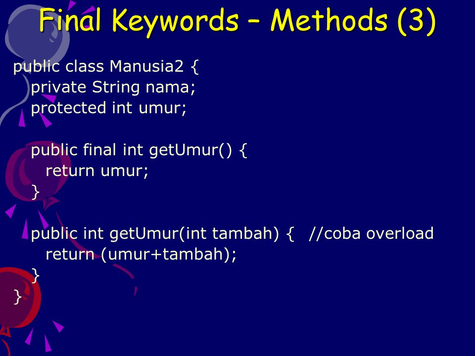 Final Keywords – Methods (3)