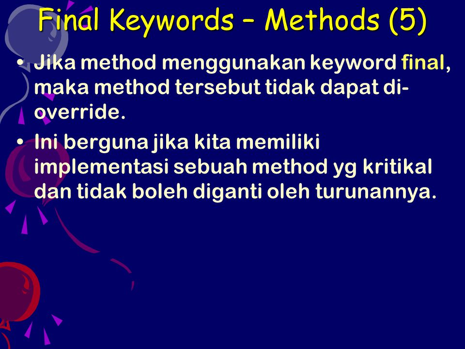 Final Keywords – Methods (5)