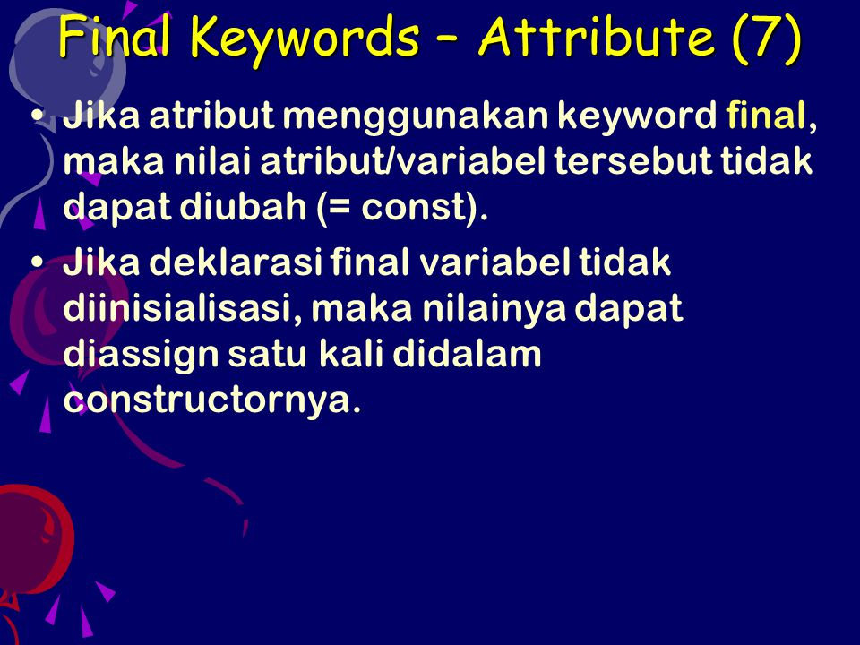 Final Keywords – Attribute (7)