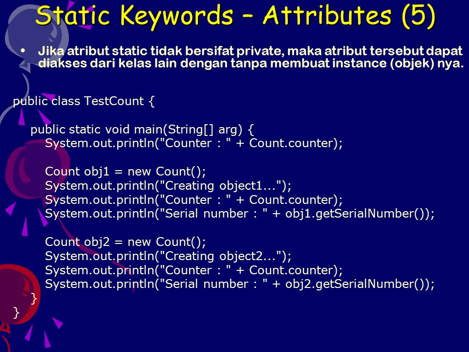 Static Keywords – Attributes (5)