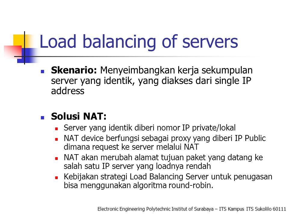 Load balancing of servers