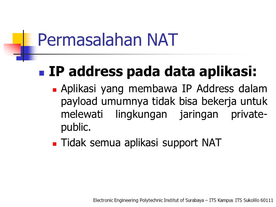 Permasalahan NAT IP address pada data aplikasi: