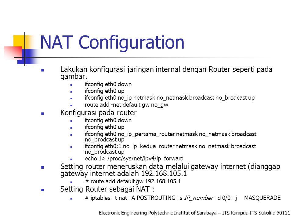 NAT Configuration Lakukan konfigurasi jaringan internal dengan Router seperti pada gambar. ifconfig eth0 down.