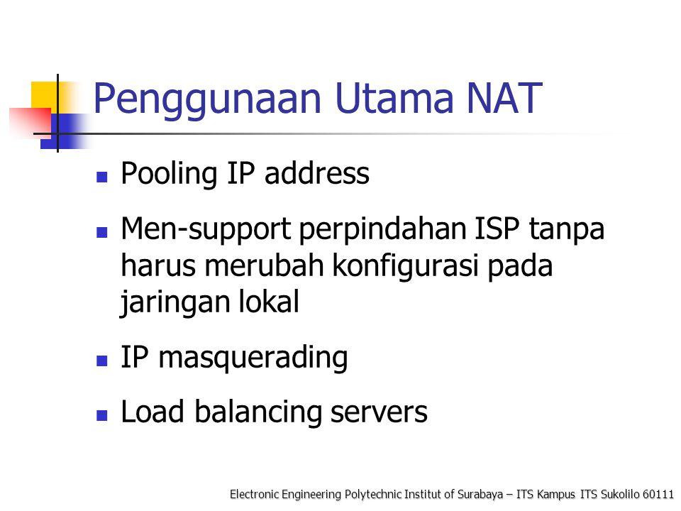 Penggunaan Utama NAT Pooling IP address
