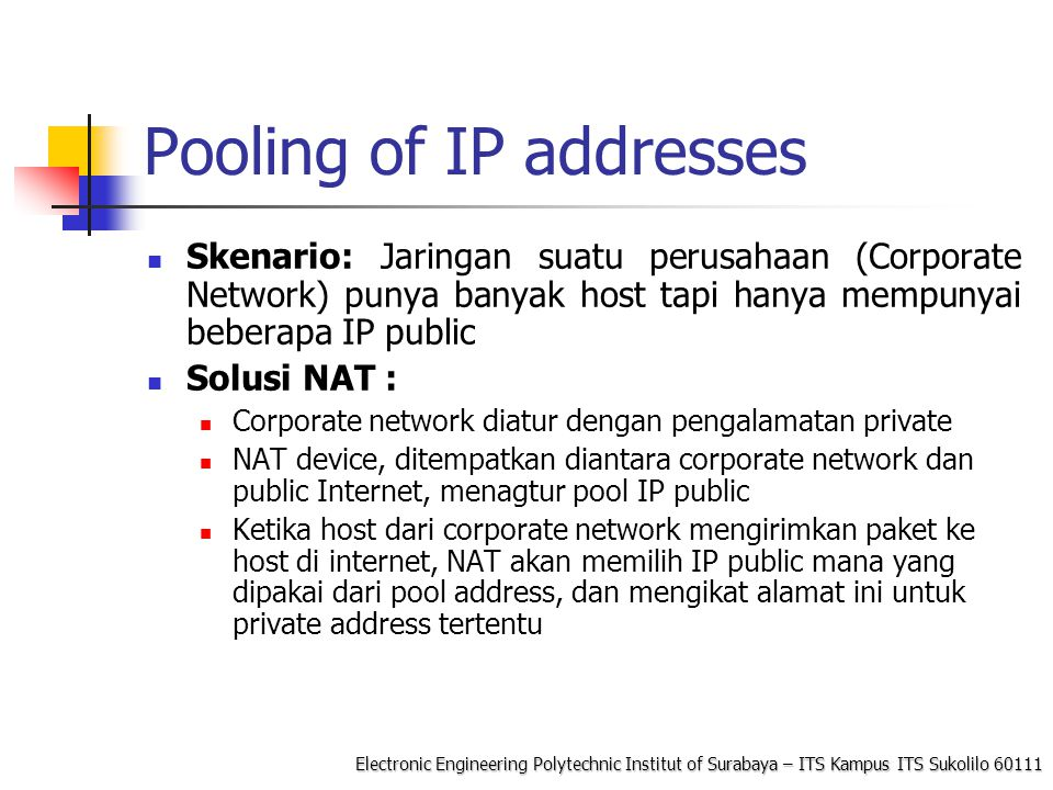 Pooling of IP addresses