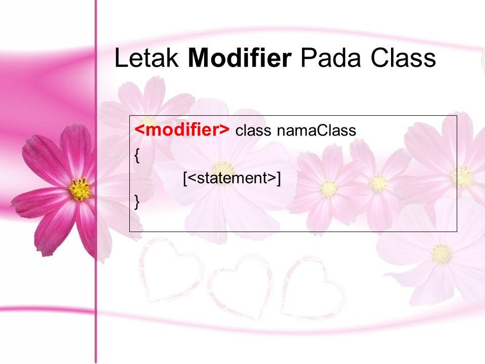 Letak Modifier Pada Class