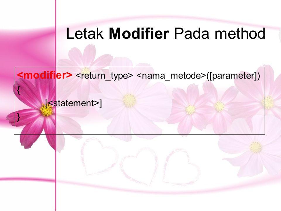 Letak Modifier Pada method