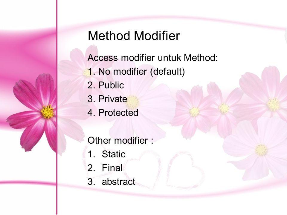 Method Modifier Access modifier untuk Method: No modifier (default)
