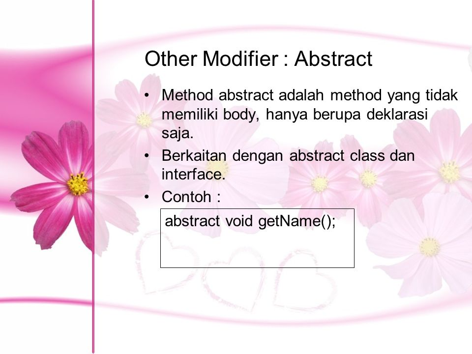 Other Modifier : Abstract