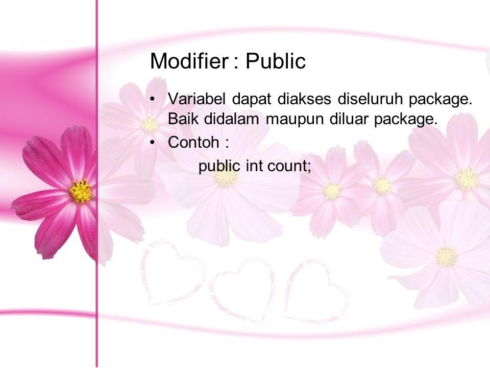 Modifier : Public Variabel dapat diakses diseluruh package. Baik didalam maupun diluar package. Contoh :