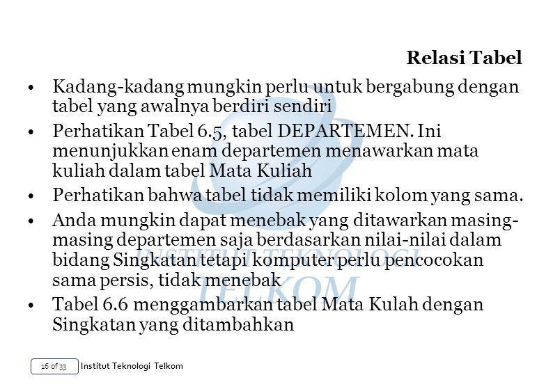 Relasi Tabel Kadang-kadang mungkin perlu untuk bergabung dengan tabel yang awalnya berdiri sendiri.