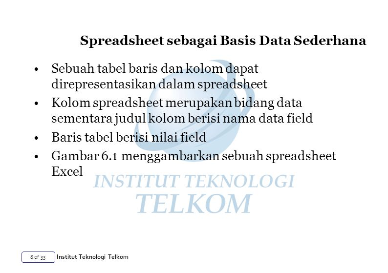Spreadsheet sebagai Basis Data Sederhana