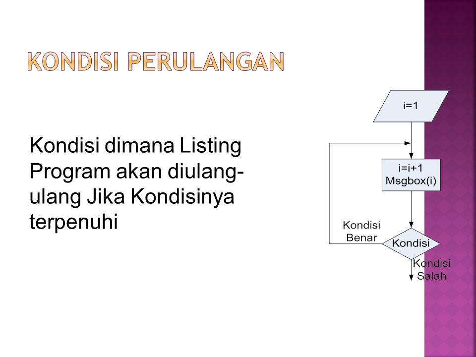 Kondisi Perulangan Kondisi dimana Listing Program akan diulang-ulang Jika Kondisinya terpenuhi