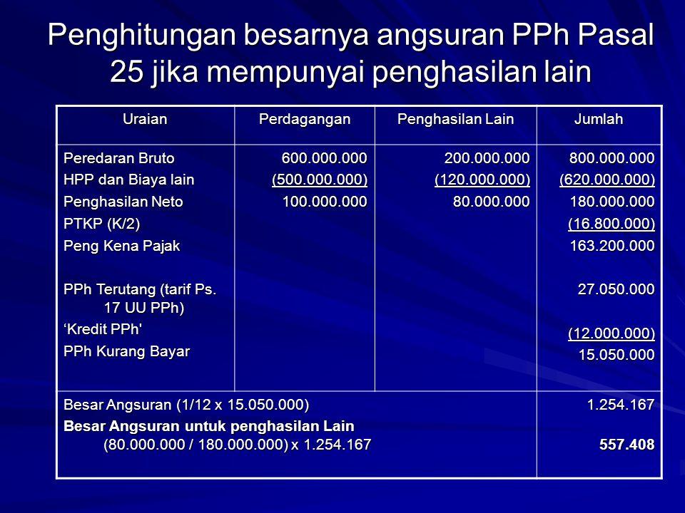 Penghitungan besarnya angsuran PPh Pasal 25 jika mempunyai penghasilan lain