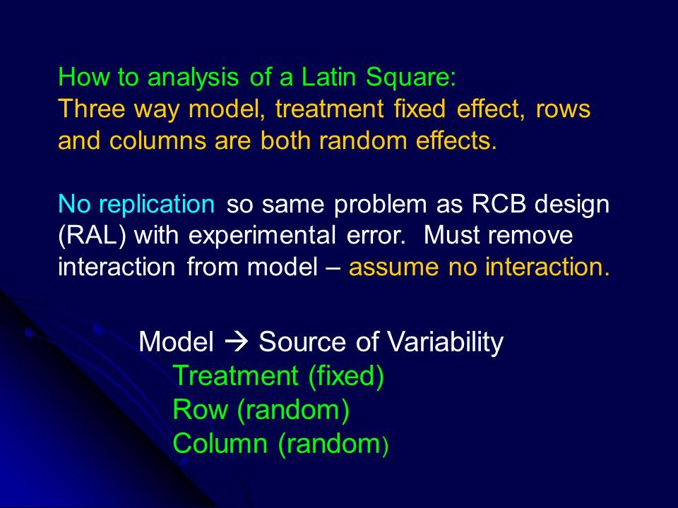 Model  Source of Variability Treatment (fixed) Row (random)