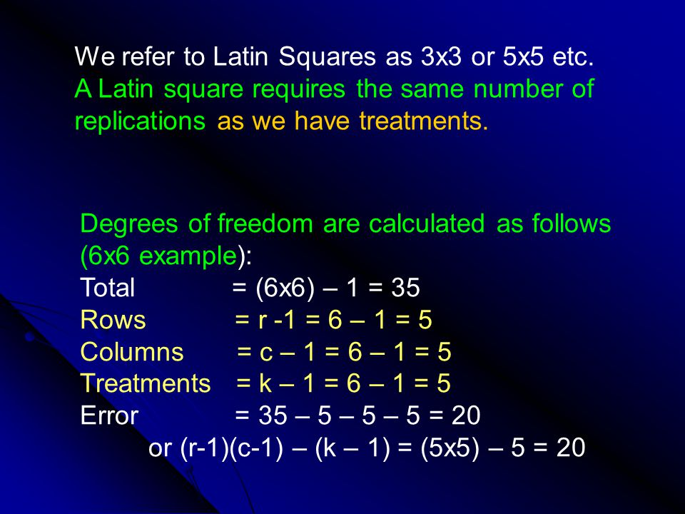 We refer to Latin Squares as 3x3 or 5x5 etc.